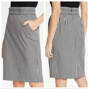 Ann Taylor Black White Checkered Pencil Skirt